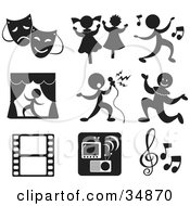 Set Of Nine Music And Entertainment Icons