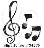 Clipart Illustration Of Three Different Music Notes