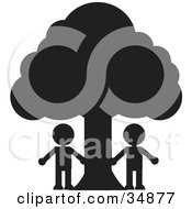 Clipart Illustration Of Two Silhouetted People Standing Under A Large Tree