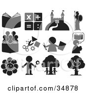 Clipart Illustration Of A Set Of Educational And Entertainment Icons by Alexia Lougiaki #COLLC34878-0043