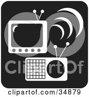 Clipart Illustration Of A White TV And Radio