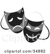 Clipart Illustration Of Two Theater Masks With Sad And Happy Expressions by Alexia Lougiaki #COLLC34882-0043