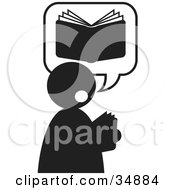 Clipart Illustration Of A Silhouetted Person Thinking Of A Good Book by Alexia Lougiaki