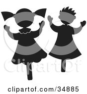 Clipart Illustration Of Two Happy Little Girls Or Stick Puppets by Alexia Lougiaki