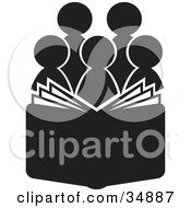 Clipart Illustration Of A Group Of Silhouetted Choir Or Church Members Behind An Open Book Or Bible