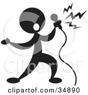 Clipart Illustration Of A Silhouetted Singer With A Microphone