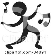 Clipart Illustration Of A Silhouetted Person Dancing A Jig To Music