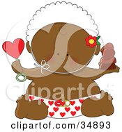 Black Valentines Day Baby In A Heart Diaper Holding A Rattle And Chocolates Wearing A Bonnet