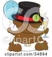 Black New Years Baby In A Diaper Holding A Balloon And Glass Of Champagne Surrounded By Confetti