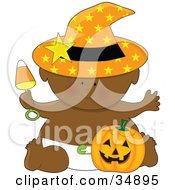 Clipart Illustration Of A Black Halloween Baby In A Diaper Holding A Candy Corn Rattle Wearing A Witches Hat And Sitting With A Pumpkin by Maria Bell