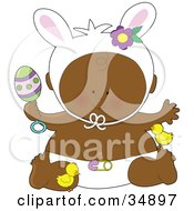 Clipart Illustration Of A Black Easter Baby In A Diaper Holding An Egg Rattle Wearing Bunny Ears And Playing With Chicks by Maria Bell