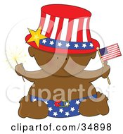 Clipart Illustration Of A Black Independence Baby In A Star Diaper Holding A Sparkler And An American Flag Wearing A Patriotic Ha by Maria Bell
