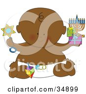 Clipart Illustration Of A Black Hanukkah Baby In A Diaper Holding Gifts A Menorah And A Rattle by Maria Bell