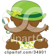 Black St Patricks Day Baby In A Clover Diaper Holding A Rattle Wearing A Green Hat