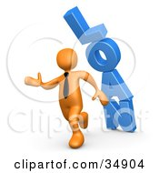 Orange Business Man Running From The Toppling Blue Word LOAN