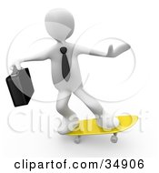 White Businessman Person With A Briefcase Skateboarding On A Yellow Skateboard