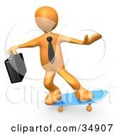 Orange Businessman Person With A Briefcase Skateboarding On A Blue Skateboard