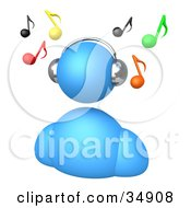 Clipart Illustration Of A Blue Avatar Wearing Chrome Headphones And Listening To Music With Colorful Notes Floating Above