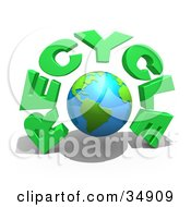 Clipart Illustration Of A Bright Globe Under Green RECYCLE Text