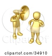 Golden Man With A Headphone Head Shouting In A Persons Ear