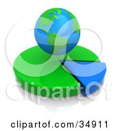 Clipart Illustration Of A Bright Globe Hovering Over A Green And Blue Pie Chart