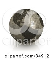 Clipart Illustration Of A Gray Globe Made Of Cubes Featuring The American Continents