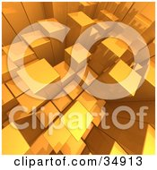 Clipart Illustration Of An Aerial View Of Random Golden Cubes Growing