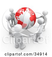 Group Of Five White People Holding Hands Around A Globe With Red Continents