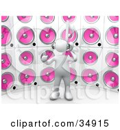 White Person With A Music Note Head Giving The Thumbs Up Listening To Tunes In Front Of A Wall Of Pink Speakers