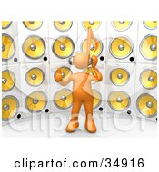 Orange Person With A Music Note Head Giving The Thumbs Up Listening To Tunes In Front Of A Wall Of Yellow Speakers