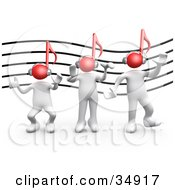 Clipart Illustration Of Three White People With Red Music Note Heads And Headphones Listening To Music And Dancing In Front Of A Music Staff