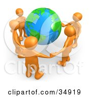 Group Of Five Orange People Holding Hands Around A Shiny Globe