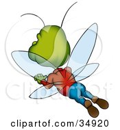 Clipart Illustration Of A Green Male Beetle In Clothes Flying Away