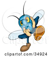 Clipart Illustration Of A Depressed Blue Beetle Holding His Face