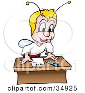 Blond Fly Bug Standing Up Over A Note On A Desk