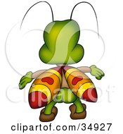 Green Beetle With Yellow Orange And Red Wings Facing Away With His Buns Hanging Out