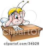 Blond Fly Bug Stressed School Bug Student Trying To Take A Quiz