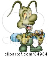 Clipart Illustration Of A Green Beetle Shooting A Slingshot by dero