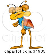 Clipart Illustration Of A Lazy Orange And Blue Beetle Sulking