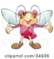 Clipart Illustration Of A Dramatic Pink Beetle With Green Eyes Holding His Arms Out