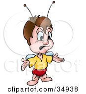 Clipart Illustration Of A Disappointed Fly Character Holding His Arms Out by dero