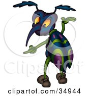 Clipart Illustration Of A Blue Purple And Green Beetle Gesturing And Pointing Left by dero