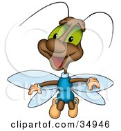 Clipart Illustration Of A Friendly Brown Beetle With Green Eyes And Blue Wings by dero