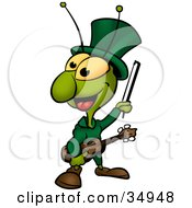 Clipart Illustration Of A Green Cicada Playing A Fiddle