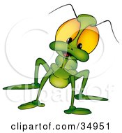 Clipart Illustration Of A Green Beetle With Big Yellow Eyes Looking Curiously At The Viewer by dero