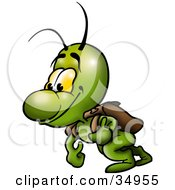 Clipart Illustration Of A Happy Green Bug Carrying A Leather Backpack by dero