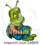 Clipart Illustration Of A Happy Green Beetle In Jeans Sitting On The Ground And Holding His Knees by dero