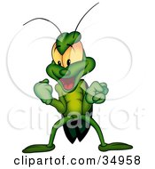 Clipart Illustration Of A Victorious Green Beetle Clenching His Fists And Grinning by dero