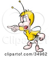 Clipart Illustration Of A Blond Fly Bug Screaming And Pointing To The Left by dero
