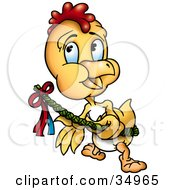 Clipart Illustration Of A Yellow Chick Running With A Decorated Wicker Easter Branch by dero